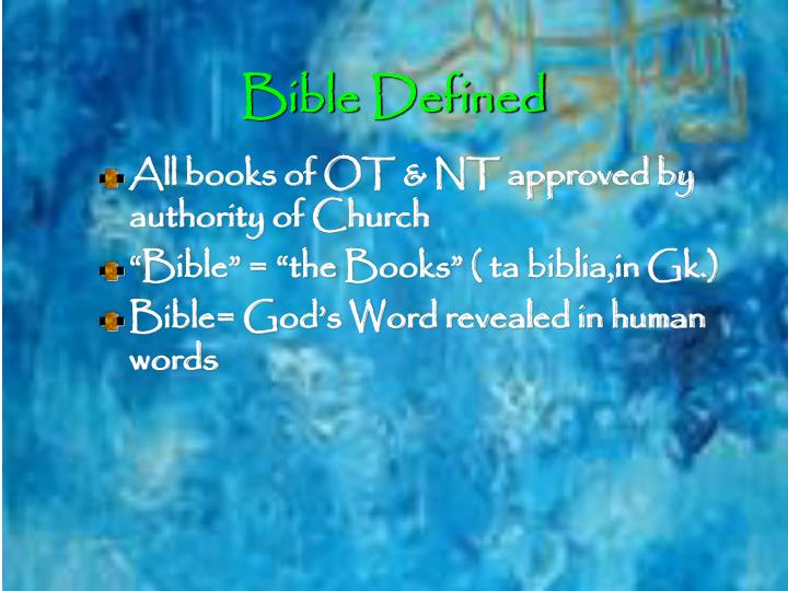 Bible Defined