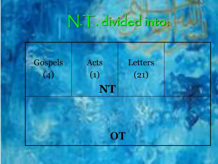 N.T. divided into: