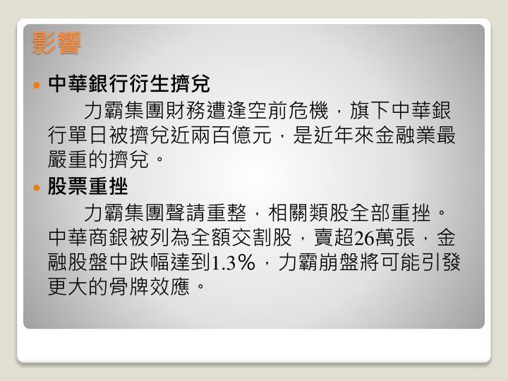 中華銀行衍生擠兌