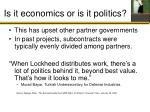 is it economics or is it politics