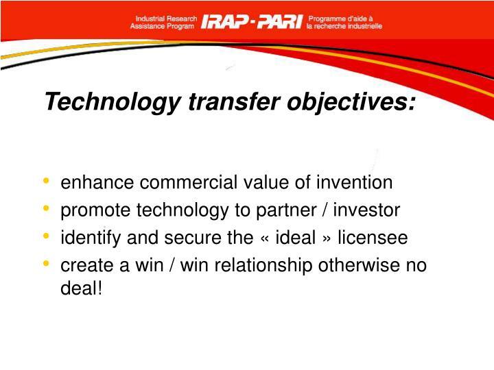 Technology transfer objectives: