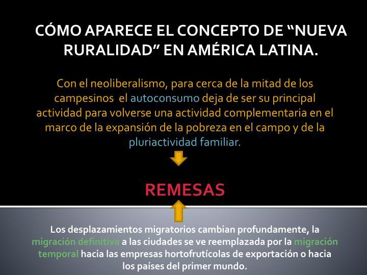 """CÓMO APARECE EL CONCEPTO DE """"NUEVA RURALIDAD"""" EN AMÉRICA LATINA."""