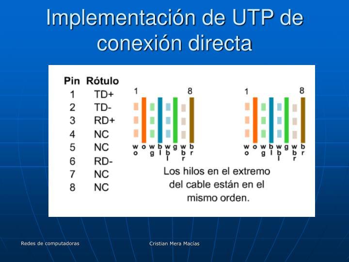 Implementación de UTP de conexión directa