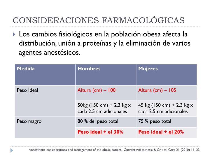 CONSIDERACIONES FARMACOLÓGICAS