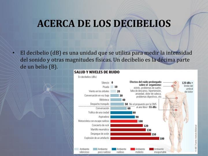 ACERCA DE LOS DECIBELIOS