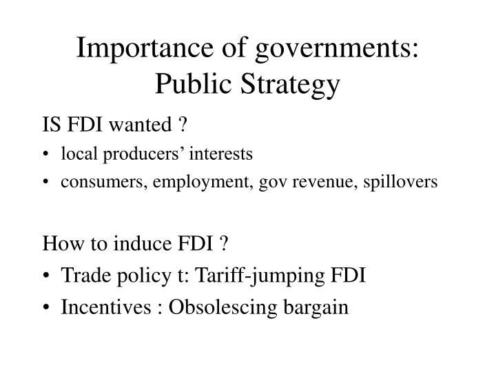 Importance of governments: Public Strategy