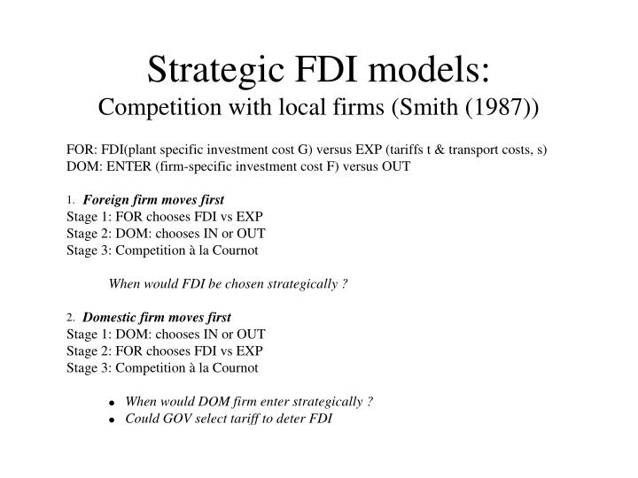Strategic FDI models:
