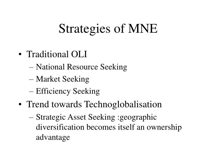 Strategies of MNE