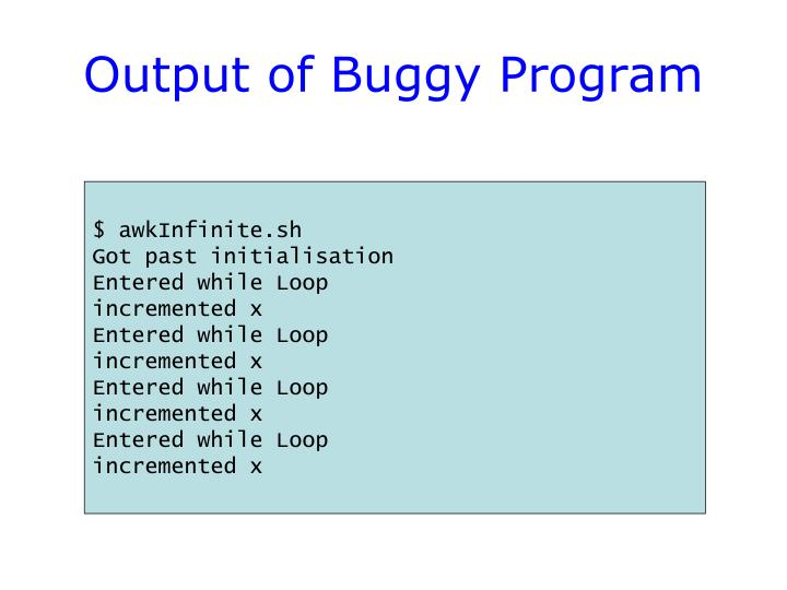 Output of Buggy Program