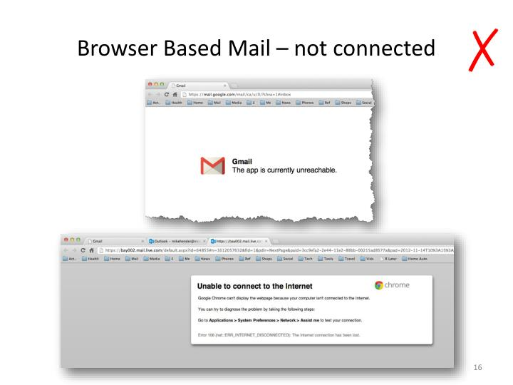 Browser Based Mail – not connected