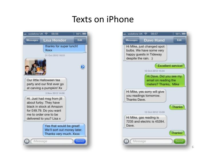 Texts on iPhone