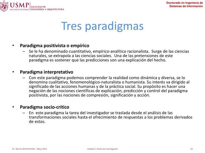 Tres paradigmas