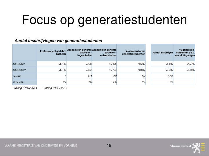 Focus op generatiestudenten