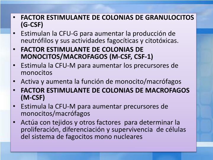 FACTOR ESTIMULANTE DE COLONIAS DE GRANULOCITOS (G-CSF)