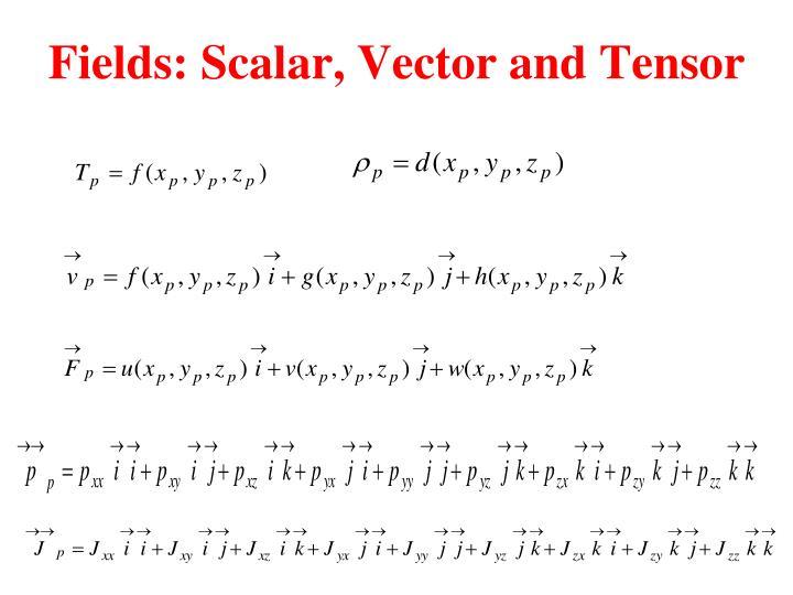 Fields: Scalar, Vector and Tensor