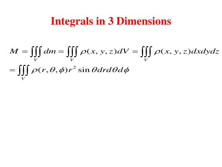 Integrals in 3 Dimensions