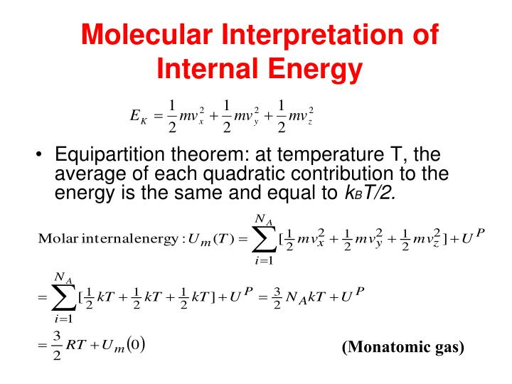 Molecular Interpretation of Internal Energy