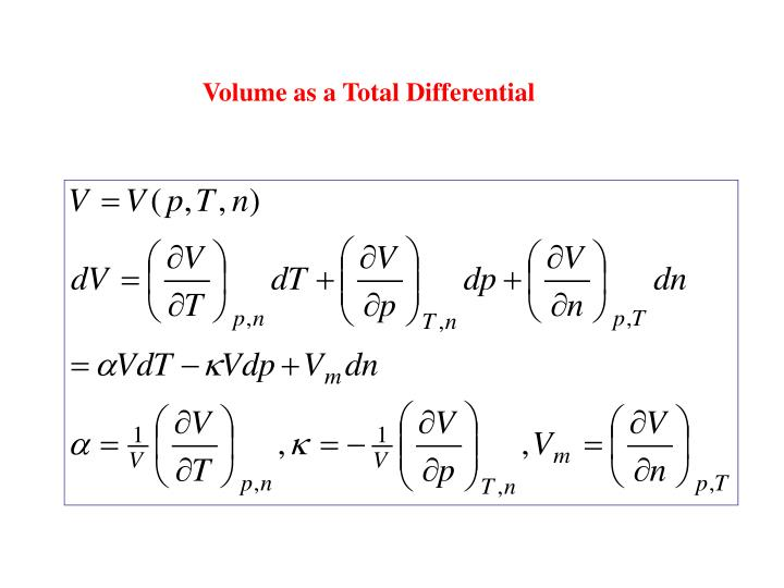 Volume as a Total Differential