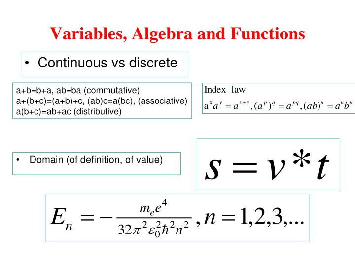 Variables, Algebra and Functions