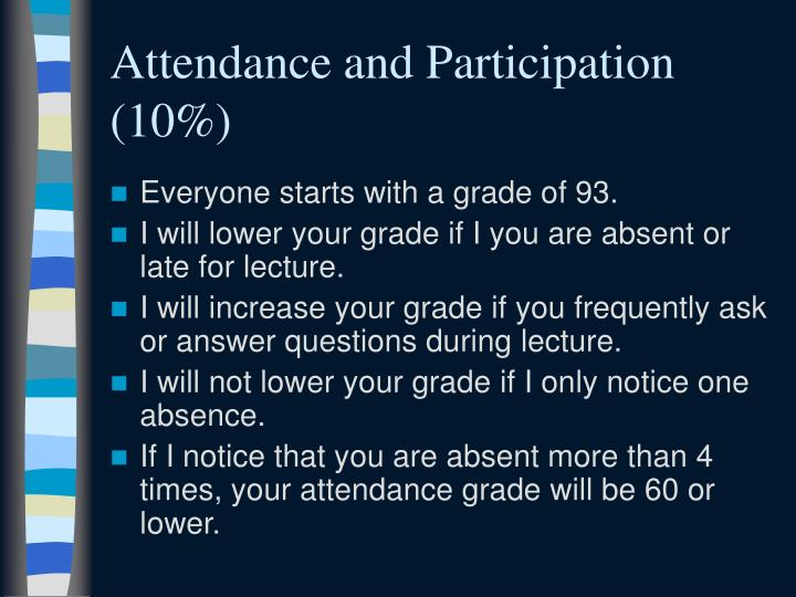 Attendance and Participation (10%)