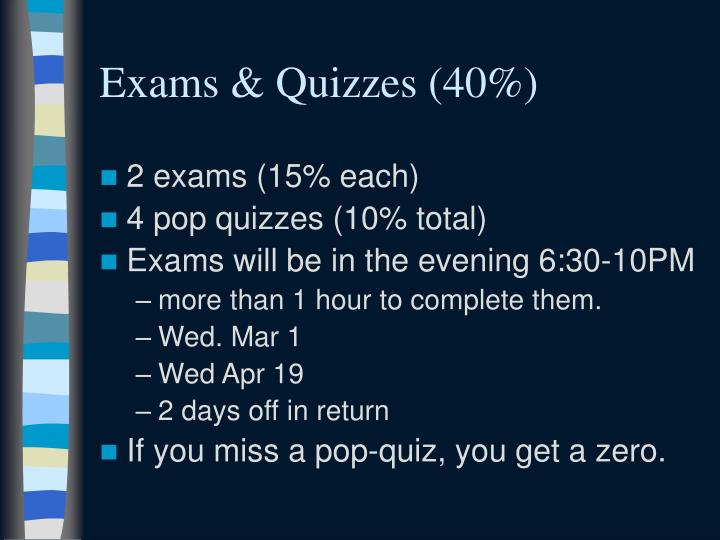 Exams & Quizzes (40%)