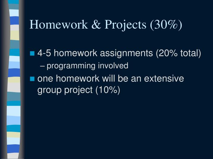 Homework & Projects (30%)