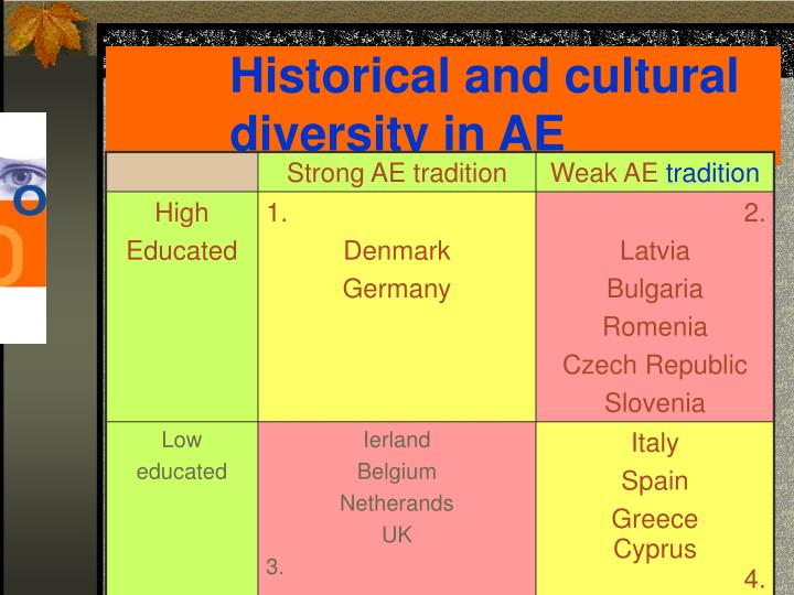 Historical and cultural diversity in AE