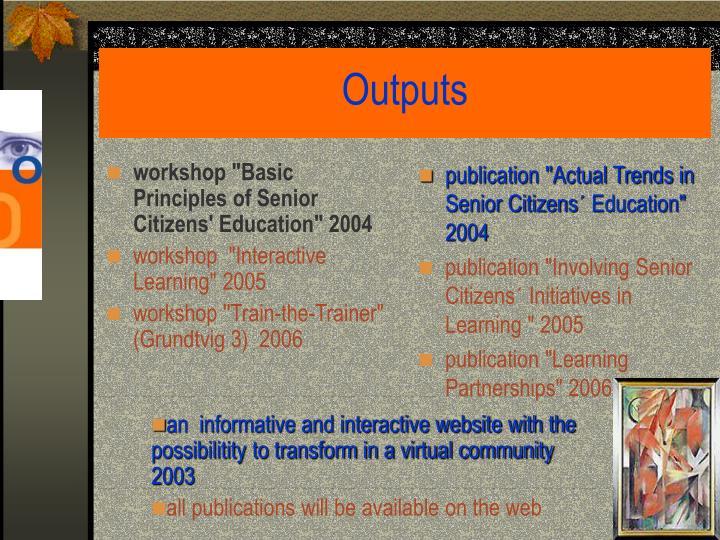 "workshop ""Basic Principles of Senior Citizens' Education"" 2004"