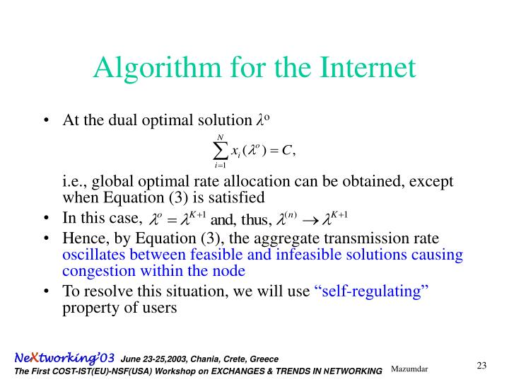 Algorithm for the Internet