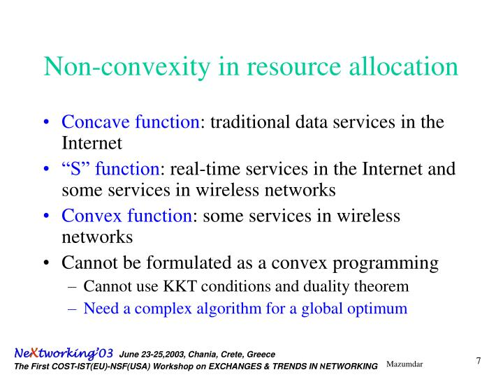 Non-convexity in resource allocation