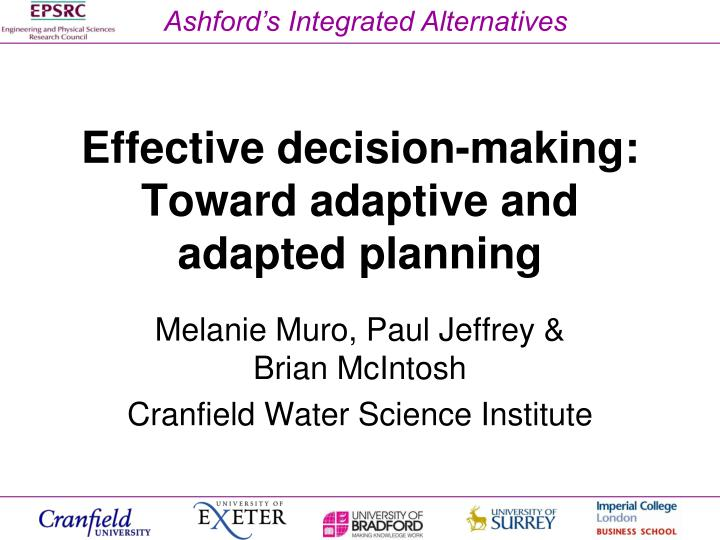 Effective decision making toward adaptive and adapted planning