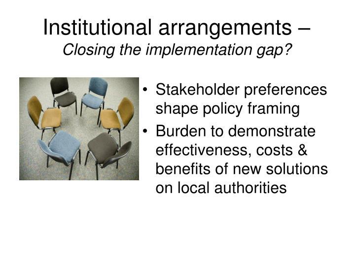 Institutional arrangements –