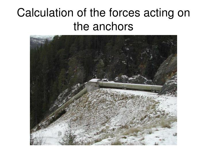 Calculation of the forces acting on the anchors