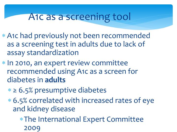 A1c as a screening tool