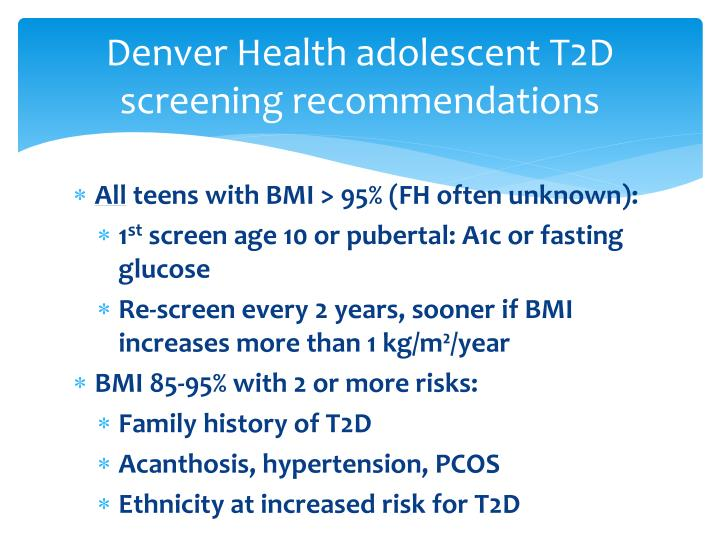 Denver Health adolescent T2D screening recommendations