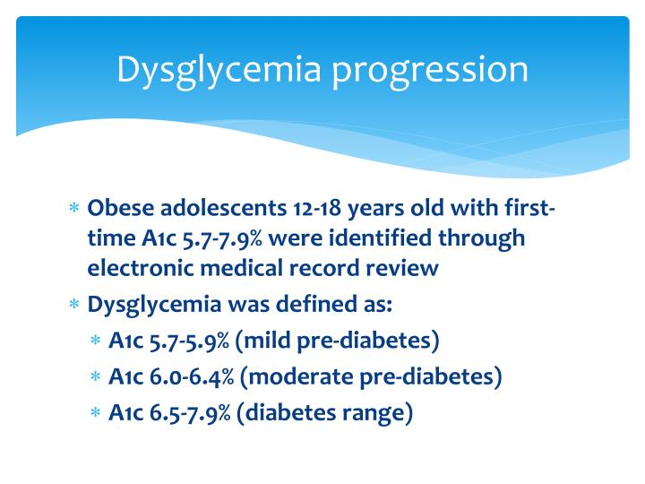 Dysglycemia progression