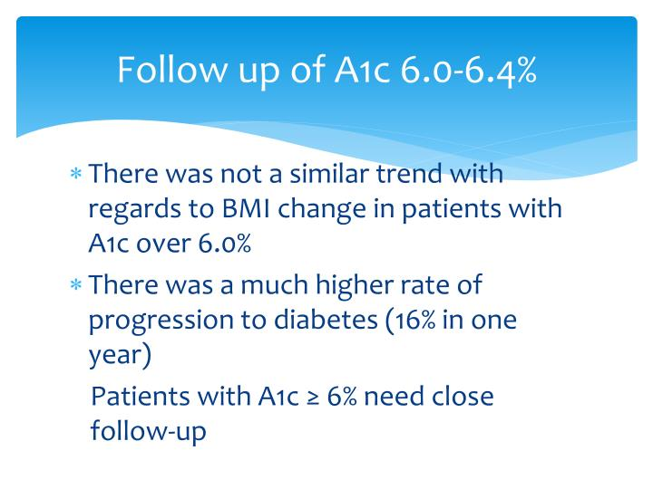 Follow up of A1c 6.0-6.4%