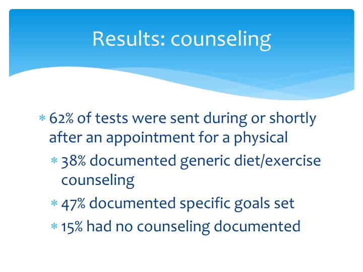 Results: counseling