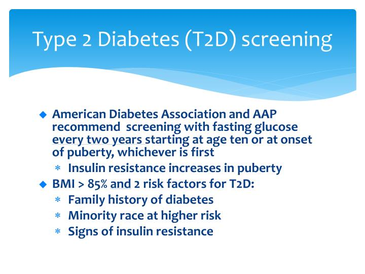 Type 2 diabetes t2d screening