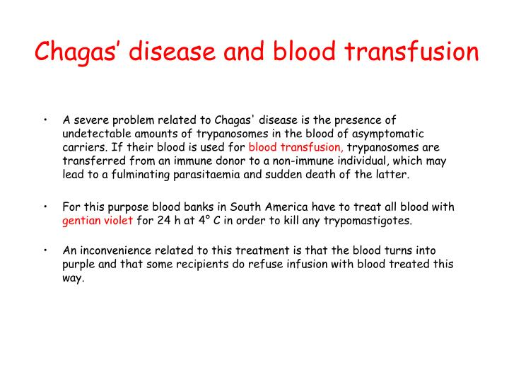 Chagas' disease and blood transfusion