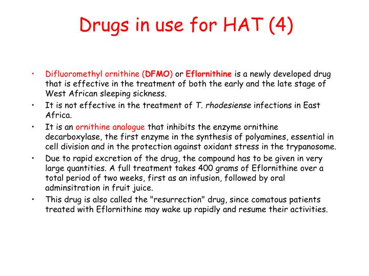 Drugs in use for HAT (4)