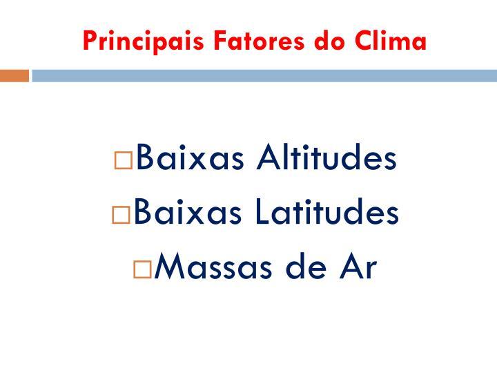 Principais Fatores do Clima