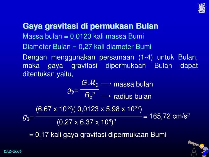 Gaya gravitasi di permukaan Bulan
