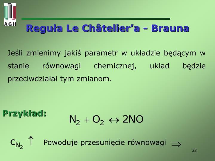 Reguła Le Châtelier'a - Brauna