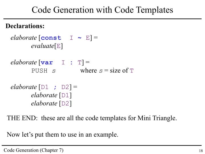 Code Generation with Code Templates