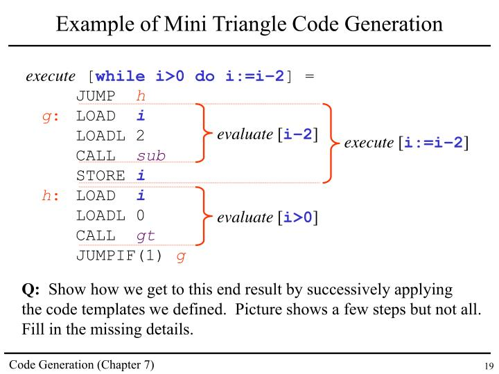 Example of Mini Triangle Code Generation