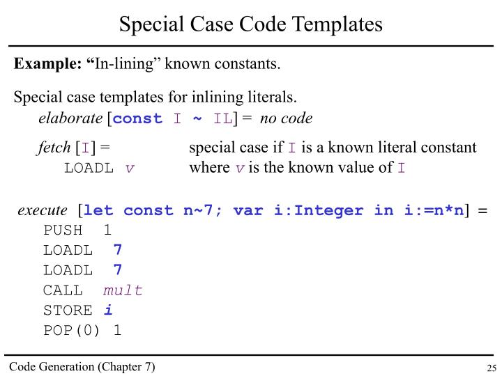 Special Case Code Templates
