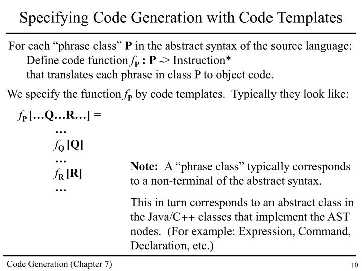 Specifying Code Generation with Code Templates