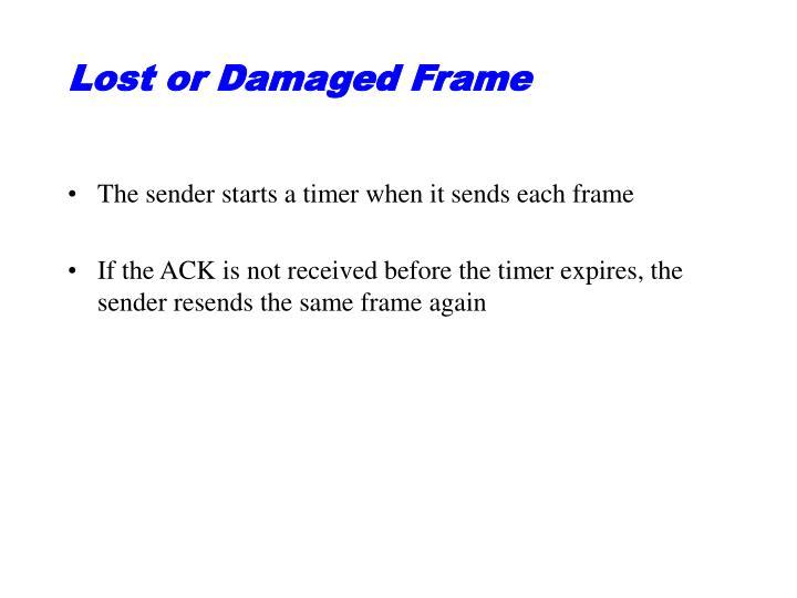 Lost or Damaged Frame