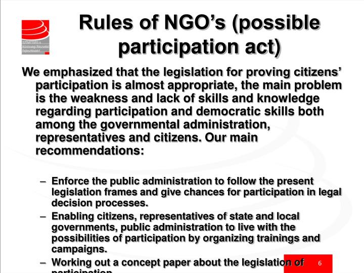 Rules of NGO's (possible participation act)